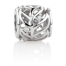 Leaf Patterned Charm with Cubic Zirconia in Sterling Silver