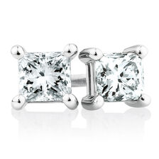 Stud Earrings with 1 TW of Diamonds in 18ct White Gold