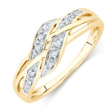 Weave Ring with Diamonds in 10ct Yellow Gold