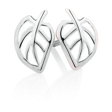 Leaf Stud Earrings with White Enamel in Sterling Silver