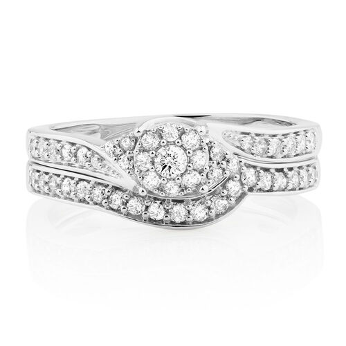 Bridal Set with 1 2 Carat TW of Diamonds in 10kt White Gold