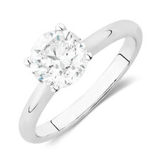 Solitaire Engagement Ring with a 2 Carat Diamond in 14kt White Gold