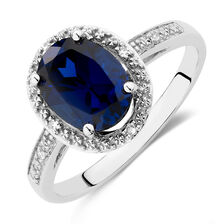 Ring with Created Sapphire & Diamonds in 10kt White Gold