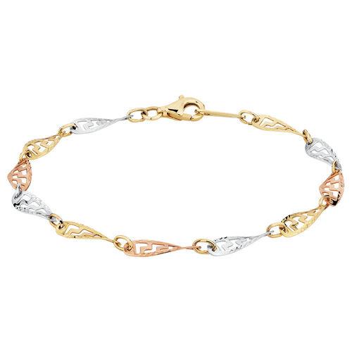 "19cm (7.5"") Twist Bracelet in 10kt Yellow, White & Rose Gold"