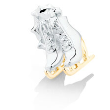 Ice Skates Dangle Charm in Sterling Silver & 10kt Yellow Gold