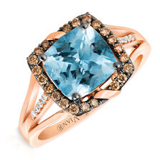 Le Vian Ring with Aquamarine & 1/4 Carat TW Chocolate & Vanilla Diamond Ring in 14kt Rose Gold