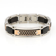 Men's Bracelet in Silver & Rose Tone Stainless Steel