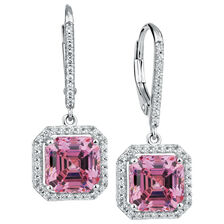 Drop Earrings with Pink & White Cubic Zirconia in Sterling Silver