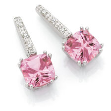 Drop Earrings with Created Pink Sapphire & Diamonds in 10kt White Gold