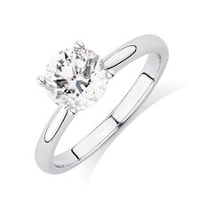 Evermore Colorless Solitaire Engagement Ring with 1 1/2 Carat Diamond in 14kt White gold