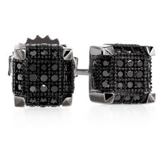 City Lights Stud Earrings with 1/5 Carat TW of Enhanced Black Diamonds in Sterling Silver