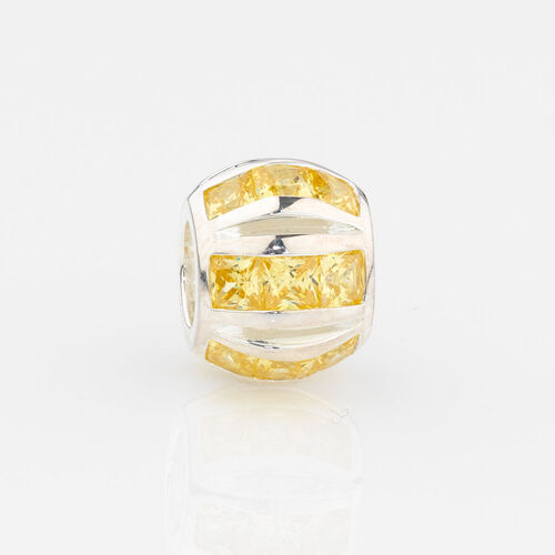 Online Exclusive - Round Stripe Charm with Yellow Cubic Zirconia in Sterling Silver