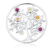 Citrine, Peridot, Rhodolite & Sterling Silver Tree Coin Pendant Insert