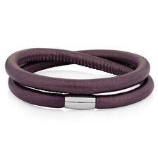 "Berry Leather 38cm (15"") Wild Hearts Double Wrap Bracelet"