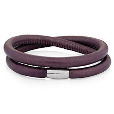 "Berry Leather 38cm (15"") Wild Hearts Double Wrap Bracelet"