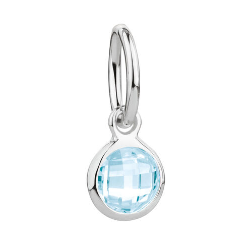 March Mini Pendant with Aqua Cubic Zirconia in Sterling Silver