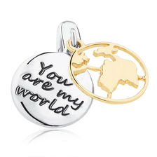 You Are My World' Dangle Charm in Sterling Silver & 10ct Yellow Gold