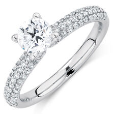 Evermore Colorless Engagement Ring with 1 Carat TW of Diamonds in 14kt White Gold