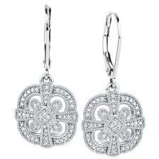 Drop Earrings with 1/4 Carat TW of Diamonds in Sterling Silver