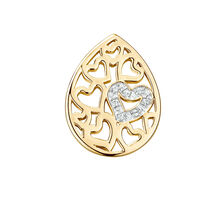 Diamond Set Heart Pattern Mini Coin Pendant Insert in 10ct Yellow Gold