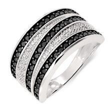 Ring with 0.70 Carat TW of White & Enhanced Black Diamonds in 10ct White Gold