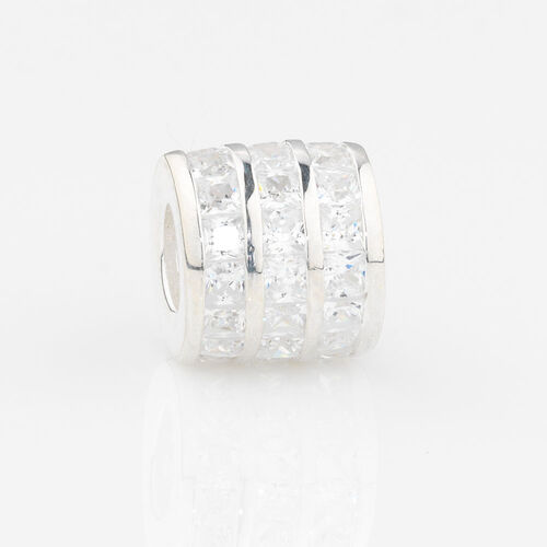 Online Exclusive - Triple Row Charm with White Cubic Zirconia in Sterling Silver