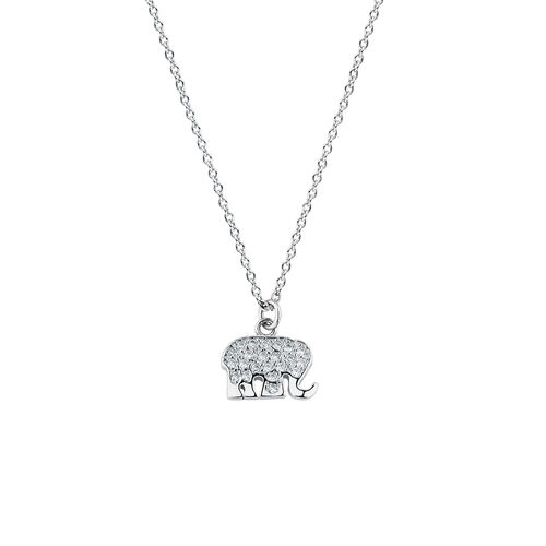 Elephant Necklace with Cubic Zirconia in Sterling Silver
