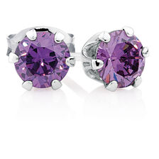 Stud Earrings with Purple Cubic Zirconia in Sterling Silver