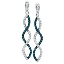 City Lights Drop Earrings with 1/2 Carat TW of White & Enhanced Blue Diamonds in Sterling Silver