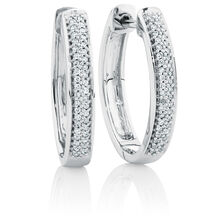 Hoop Earrings with 0.15 Carat TW of Diamonds in Sterling Silver