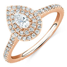 Michael Hill Designer GrandArpeggio Engagement Ring with 0.87 Carat TW of Diamonds in 14kt Rose Gold