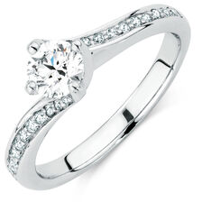 Evermore Colorless Engagement Ring with 0.60 Carat TW of Diamonds in 14kt White Gold