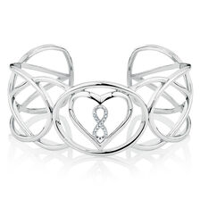 Infinitas Cuff with Diamonds in Sterling Silver