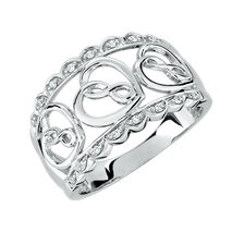 Infinitas Ring with Diamonds in Sterling Silver