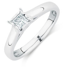 Solitaire Engagement Ring with a 1/4 Carat Diamond in 10ct White Gold