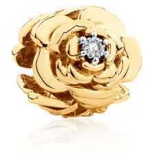 Diamond Set Flower Charm in 10ct Yellow Gold