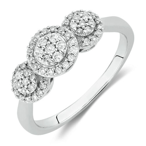 Engagement Ring with 1/3 Carat TW of Diamonds in 10ct White Gold