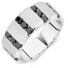 Men's Wedding Band with 1 Carat TW of Enhanced Black Diamonds in Sterling Silver
