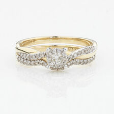 ONLINE EXCLUSIVE - Twist & Swirl Bridal Set with 3/8 Carat Total Weight of Diamonds in 10kt Yellow & White Gold