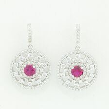 Online Exclusive - Earrings with Red & White Cubic Zirconia in Sterling Silver