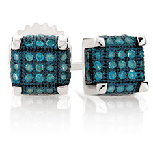 City Lights Stud Earrings with 0.20 Carat TW of Enhanced Blue Diamonds in Sterling Silver
