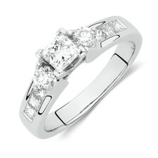 Side Accent Ring with 1 Carat TW of Princess Cut and Round Brilliant Diamonds in 18ct White Gold