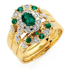 Ring with Created Emerald & Diamonds in 10ct Yellow Gold
