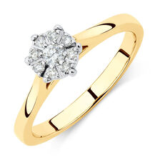 Engagement Ring with 0.15 Carat TW of Diamonds in 10ct Yellow & White Gold