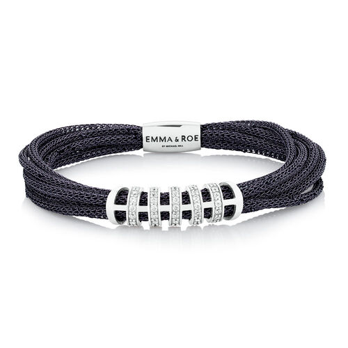 Wild Hearts Starter Bracelet with Cubic Zirconia in Sterling Silver, Grey Mesh & Stainless Steel