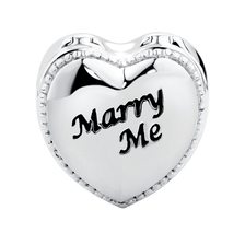 "Sterling Silver ""Marry Me"" Heart Box Charm"