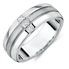 Online Exclusive - Men's Ring with 1/4 Carat TW of Diamonds in 10ct White Gold
