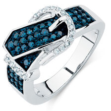 City Lights Ring with 1/2 Carat TW White & Enhanced Blue Diamonds in 10kt White Gold