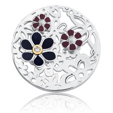 Flower Coin Pendant in 10ct Yellow Gold & Sterling Silver