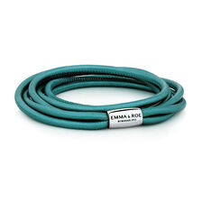 "38cm (15"") Wild Hearts Double Wrap Multi-strand Bracelet in Teal Leather & Stainless Steel"